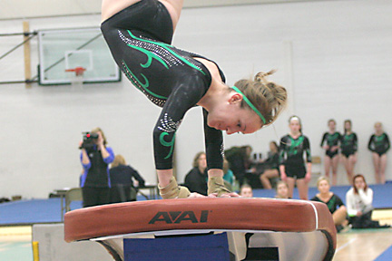 Rhinelander�s Megan Thornton mounts the vault during Monday�s Great Northern Conference triangular at the Jim Miazga Community Gymnasium in Rhinelander. (Jeremy Mayo/River News)
