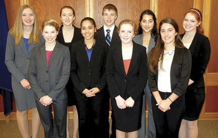 The Rhinelander High School students who will compete in the Wisconsin High School Mock Trial Tournament in Madison are (front row, from left) Erin Tenderholt, Anna Catlin, Ellie Rickman, Albiona Sabani, (back row) Sydney Schallock, Lydia O�Brien, Mike Anderson, Amber Sheth and Emily Ditzler. (Submitted photo)