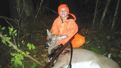 Alayna Haenel bagged this nice 4-pointer during her first hunt in the gun-deer season this year.