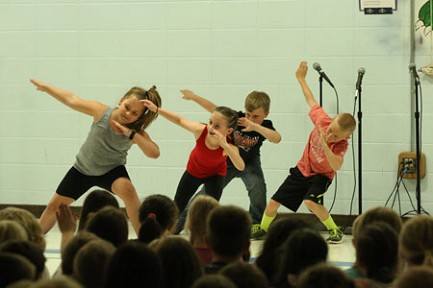 (in no particular order) Morgan Cahee, Teagen Rebane, Lylah Schroeder and Jackson Weinzatl show off their zumba moves.
