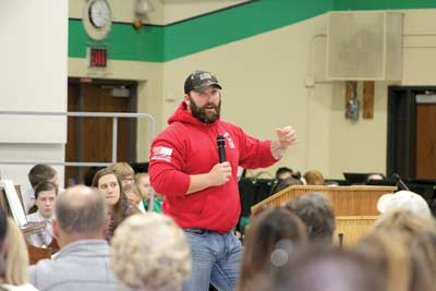 kayla breese/River NewsArmy veteran Matt Berth speaks during the 47th annual James Williams Middle School Veterans Day Ceremony Friday in the JWMS gymnasium.