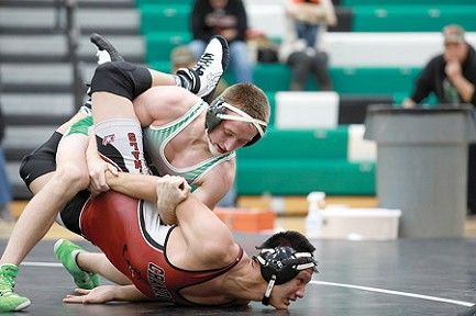 Rhinelander�s Jacob DeMeyer controls Crandon�s Breed Shepard in a 160-pound bout during a non-conference wrestling match at the Jim Miazga Community Gymnasium Thursday, Nov. 30. DeMeyer, a three-time state qualifier, won the match by technical fall. The Hodags won the dual 63-9. (Bob Mainhardt for the River News)