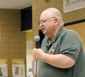 DNR wildlife supervisor Chuck McCullough was on hand at last week�s meeting to answer questions from area residents regarding CWD. He explained the next steps in the process to determine the scope of the problem in the area.