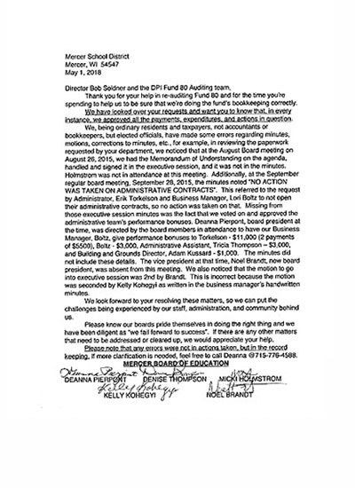 Contributed photographThis letter from the Mercer School Board to the Wisconsin Department of Public Instruction, dated May 1, 2018, includes the signatures of two individuals who were not on the Mercer School Board at the time, forming the basis of felony charges filed recently by Iron County district attorney Matthew Tingstad against Noel Brandy, Deanna Pierpont, Colleen �Kelly� Kohegyi and Denise Thompson.