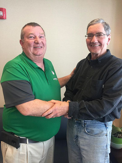 Submitted photoPictured are Pat Marquart, left, new board president for NAMI Northern Lights, and Mick Fiocchi, the group�s executive director.