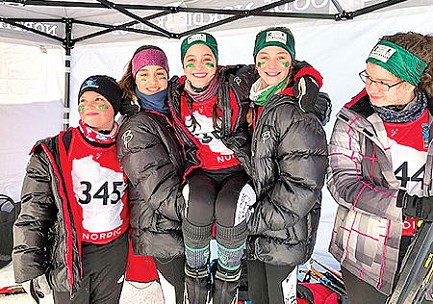 The Rhinelander middle school girls� Nordic ski team poses for a photo prior to a WNSL state meet race in Cable Saturday, Feb. 8. Pictured, from left to right, are Mya Gillen, Luna Grage, Brynn Teter, Nora Rutkowski and Katie Marshall.
