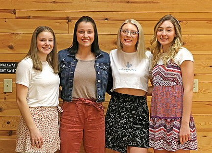 Rhinelander High School girls� basketball team varsity award winners pose for a photograph. Pictured, from left to right, are Megan Brown, Cynthia Beavers, Sophia McGinnis and Kenedy Van Zile.